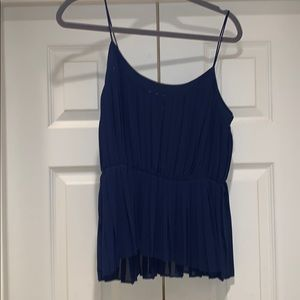 Blue accordion style peplum top